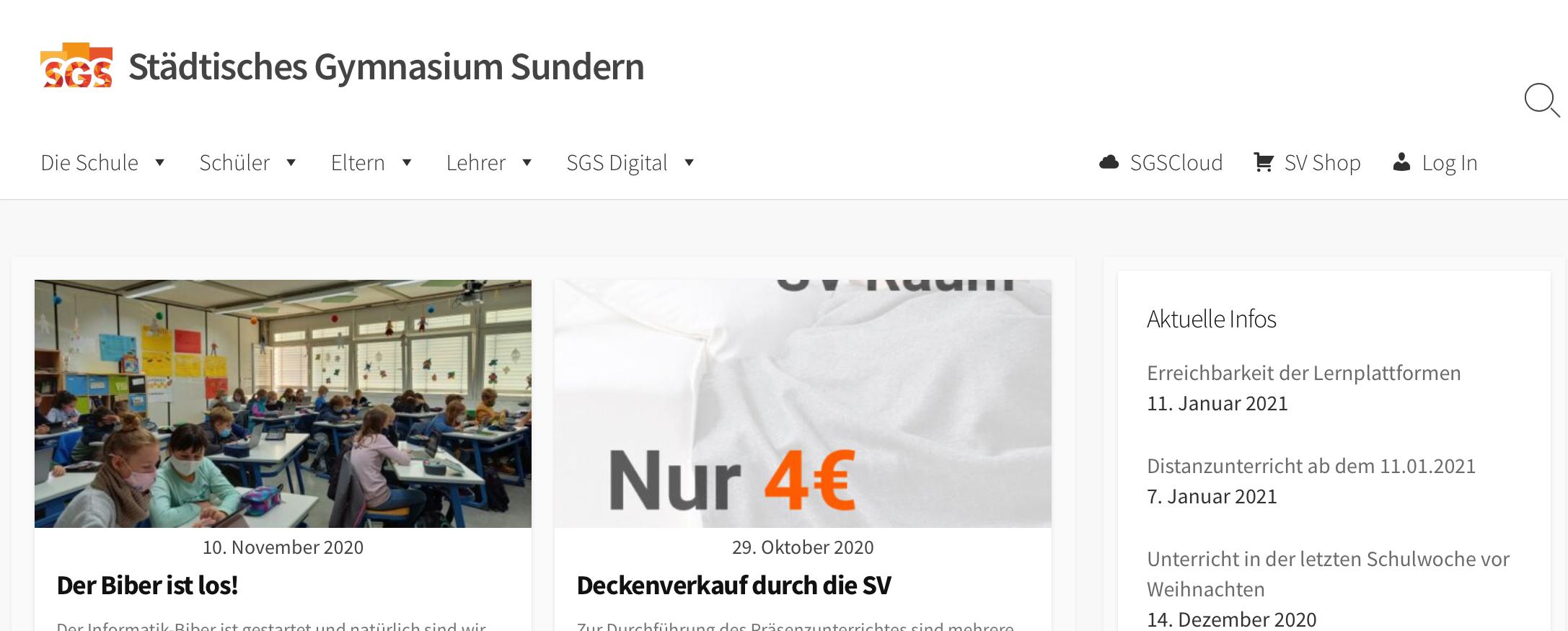 Eine Vorschau der neuen Homepage des SGS